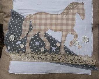 Handmade linen with cotton applique horse cushion cover