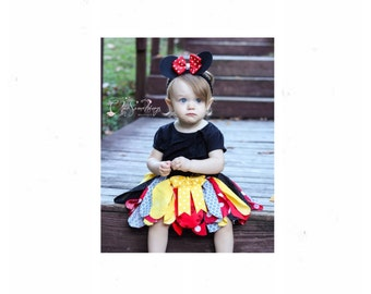 Mouse tutu, mouse birthday, red mouse tutu, mouse halloween costume, Mouse fabric tutu, baby mouse birthday red, mouse ears 01.18