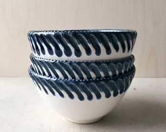 White and Cobalt Blue Textured Ceramic Bowl