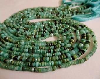 3 mm Green Blue Peruvian Opal Micro Faceted Rondelle Full 13 inch Strand-Best Price