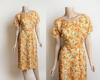 Vintage 1950s Dress - Floral Print Orange Fire Sunburst Day Dress with Matching Belt - Medium