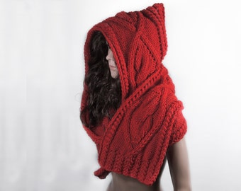 Scarf Long Hooded, Hooded Scarf, Long Scarf, Wool Scarf, Chunky Scarf, Scoodie Scarf, RED Hooded Scarf by LoveKnittings