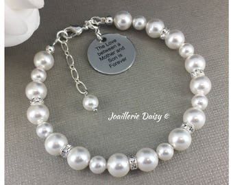 The Love between a Mother and Son is Forever Gift for Mother Day Gift Swarovski Pearl Bracelet Jewelry Gift Idea Mother Birthday Gift