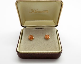 Vintage New Krementz 14K Rose Gold Pierced Rose Earrings in Original Box