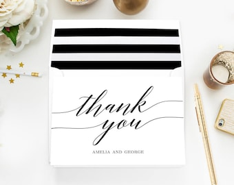 Printable MODERN SCRIPT Thank You Cards - Easy to Personalize with Your Name #MSC