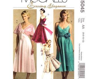 Bodice Wrap Dress Pattern McCalls 5045 Flared Dance Dress & Shrug Shoulder Straps Evening Elegance Women Sewing Pattern Size 6 8 10 12 UNCUT