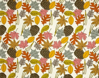 Fall Leaves on Cream From Birch Organic Fabric's Camp Sur 3 Collection by Jay-Cyn Designs