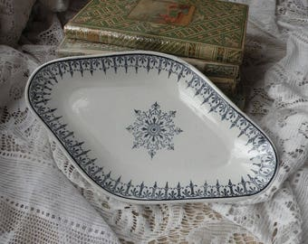 French vintage ironstone side dish with blue and white transferware pattern, ironstone ravier, French ceramic kitchen spoon rest, soap dish