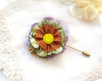 Fabric Flower Pin - Colorful Lapel Flower Pin - Stick Pin - Gift for Mother - Wedding Boutonnieres - Gift for Friend -