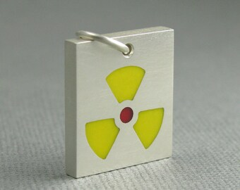 solid sterling silver radioactive pendant. radioactive icon pendant. solid silver danger pendant. silver alert pendant. mens jewelry