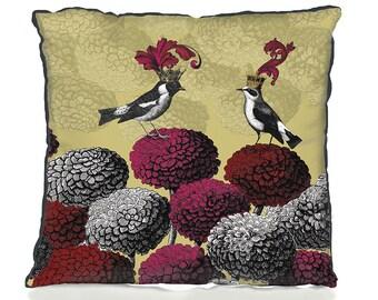 Gold Accent pillows Blooming Birds Chrysanthemum 2, botanical print botanical decor bird decor gold throw cushion accent cushion gold decor