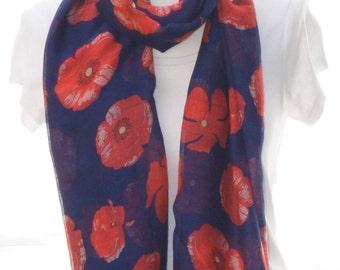 Navy poppy Scarf shawl, Beach Wrap, Cowl Scarf, navy poppy print scarf, cotton scarf, gifts for her