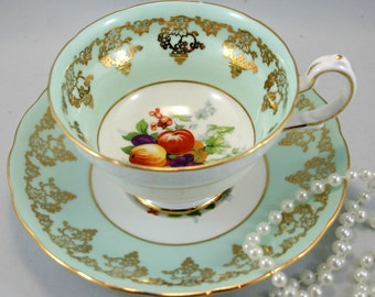 Grosvenor  Footed Teacup & Saucer, Fruit Pattern, Light Green Gilded Borders, Bone English China made in 1970s.