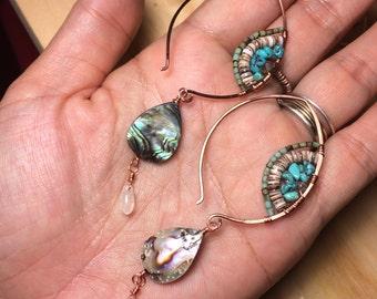 Noe earrings, turquoise, clamshell, abaloneshell and copper, moonstone