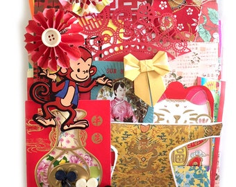 LArge Scrap Chinese paper pack - New and Vintage paper ephemera, paper scraps PAck 2