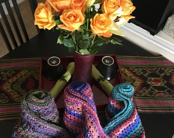 Noro hand knit eyelet scarves
