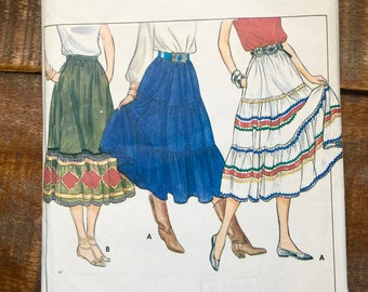 1980 Butterick Pattern 4260-Misses 3-Tiered-Bottom Ruffle Flared Skirt-Mid-Calf Length. Vintage-Used-Complete-Good Conditon Sewing Pattern.