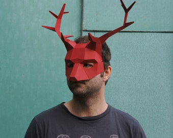 Make your own Half Face Stag or Reindeer Mask