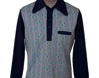 Vintage 70s Blue Polyester Mens Shirt - Graphic Print - Long Sleeve  - L - Rockabilly