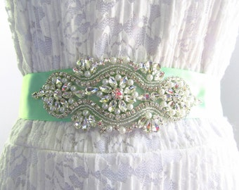 SQA-15 / Rhinestone Bridal Ribbon Sash / Double Faced Ribbon Sash / Bridal Sash / Bridal  / Embellished Sash / Wedding Belt / Bridal Belt