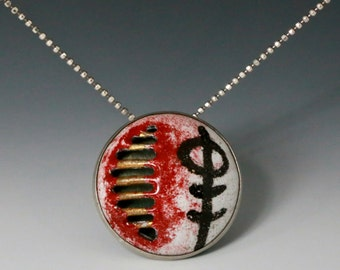 Enamel Pendant NO. 1 - enamel jewelry, gilded pendant, black and red, abstract pendant, gidled pendant, fine art jewelry,  modern jewelry