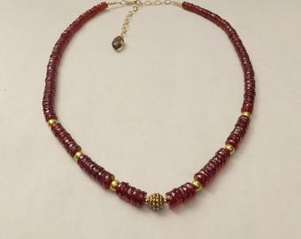 Whiskey Garnet and Gold Necklace