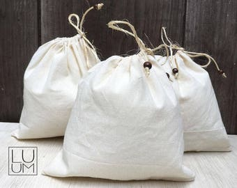Set of 3 cotton pouches -Handmade -Produce bags Activo