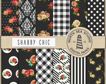 FRENCH COUNTRY   Shabby Chic Paper Pack   Scrapbooking Digital Paper   Printable Backgrounds   12 JPG, 300dpi Files   BUY5FOR8