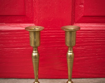 "Pair of vintage 7.5"" brass candle holders - Set of 2 Solid Brass Candleholders - 7.5 Inch Candlesticks - 70s - 60s - 80s"