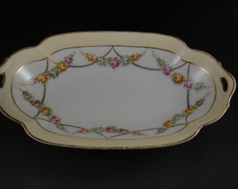 Nippon Trinket Dish Open Handles Gold Beaded Floral