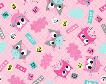 OWL SCHOOL Pink Owls & Words by 3 Wishes Fabric 10929-PNK by the yard - End of Bolt 1 1/2 yards - owl fabric