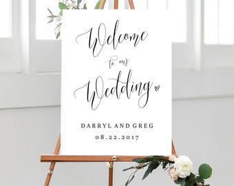 Welcome to our Wedding Sign Template, Welcome wedding sign, printable, welcome sign instant download, editable welcome sign, diy #PPSB67