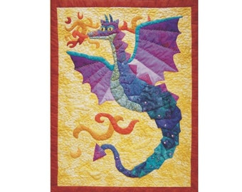 Dragonfires, a fiery dragon applique and quilting pattern.