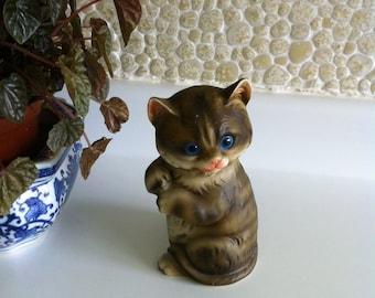 Vintage Enesco Gray Tabby Kitten - JAPAN