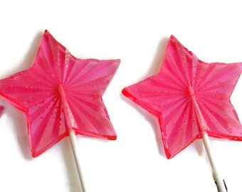 Pink Stars Lollipops - Large Faceted Hard Candy Stars - 6 Lollipop Pack -  Wedding Favors, New Years Eve Party, Baby Showers