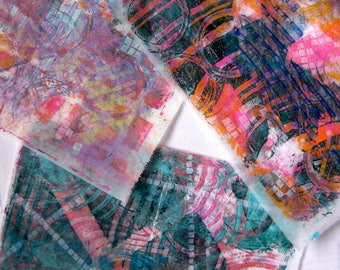 Original Handmade Gelli Print Collage Artist Papers for Mixed Media and Art Journaling 1203_02