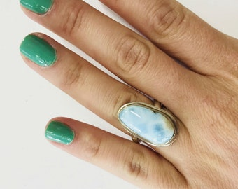Large Vintage Blue Chalcedony Ring