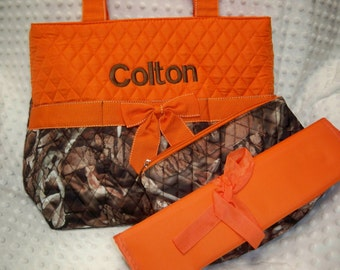 PERSONALIZED 3 Piece Diaper Bag Set with Name - Baby Boy Camo and Orange Personalized Diaper Bag, Zipper Pouch, and Changing Pad Embroidered