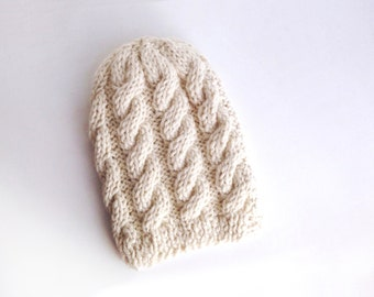 Winter Hat, Gifts for Her, hand knitted Beanie, White Hat handmade, Baby Alpaca Hat, Eco friendly gift idea 100% Baby Alpaca