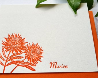 Protea Flower Personalized Letterpress Stationery Card Set