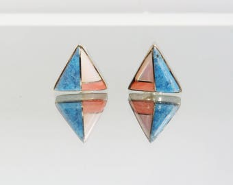 Vintage Zuni Native American southwestern sterling silver stud earrings Turqouise coral mother of pearl gemstone jewellery inlaid 3.3 grams