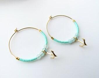 Créoles perles Miyuki menthe et ancre en plaqué or Gold Filled