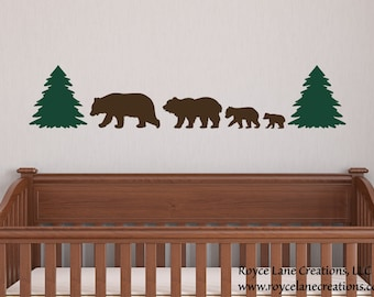 Bear Nursery Decor / 4 Bear Family Decal / Woodland Nursery Decor / Woodland Bear Nursery / Bear Family Sticker / Woodland Decal / Baby Bear