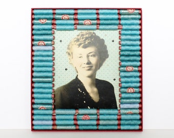 Mixed Media Art Assemblage Box - Embroidered Vintage Photo Portrait in Turquoise and Crimson