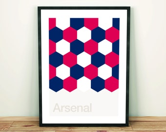 Arsenal, Football Art Print, Football Poster, Abstract, Minimal