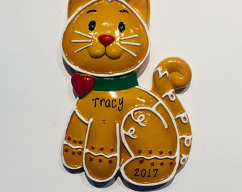 Gingerbread Cat Ornament  Cat Ornament  Pet Ornament  Personalized Christmas Ornament