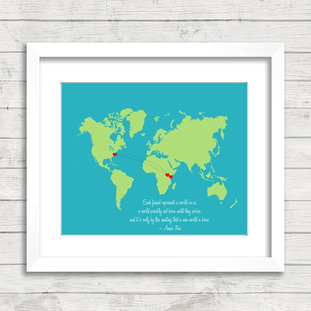 8x10 best friends world map long distance heart trail zoom gumiabroncs Choice Image