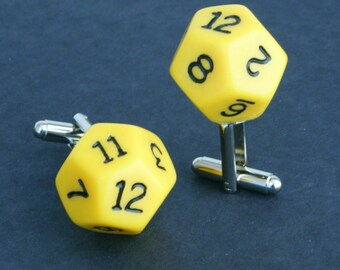Yellow 12 Sided Dice Cufflinks d12 Free gift bag