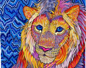 Kaleidoscopic King (Psychedelic Rainbow Copic Marker Lion Drawing in Trippy Purple, Pink, Yellow and Orange)