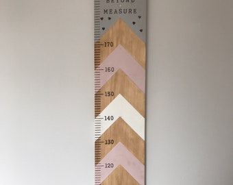 Personalised Giant Ruler Height Chart- Chevron Design | Handmade in the UK